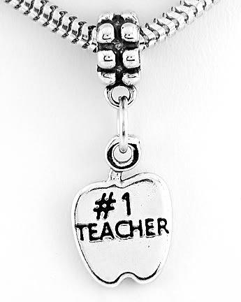 STERLING SILVER #1 TEACHER APPLE EUROPEAN BEAD