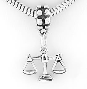 STERLING SILVER DANGLING SCALES OF JUSTICES LAW EUROPEAN BEAD