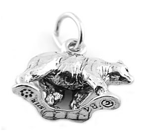 STERLING SILVER GRIZZLY BEAR CHARM/PENDANT