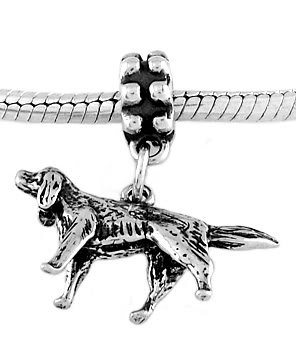 STERLING SILVER DANGLE IRISH SETTER DOG EUROPEAN BEAD