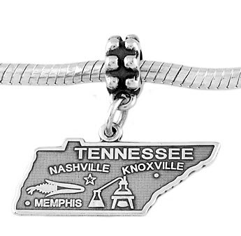 STERLING SILVER DANGLE STATE OF TENNESSEE EUROPEAN BEAD