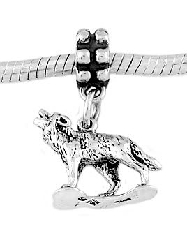 STERLING SILVER DANGLE HOWLING WOLF EUROPEAN  BEAD