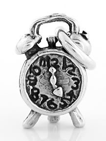 STERLING SILVER ALARM CLOCK CHARM/PENDANT