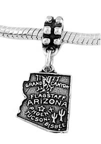 STERLING SILVER DANGLE STATE OF ARIZONA EUROPEAN BEAD