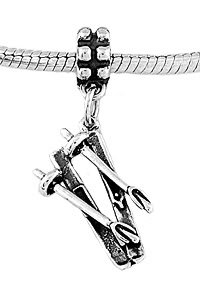 STERLING SILVER DANGLE SKIES AND POLES EUROPEAN  BEAD