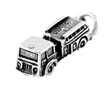 STERLING SILVER FIRE DEPARTMENT TRUCK CHARM/PENDANT