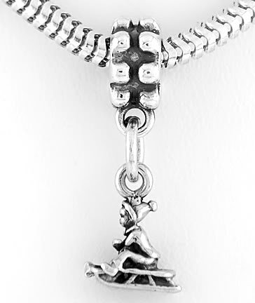 STERLING SILVER DANGLING CHILD ON SLED EUROPEAN BEAD