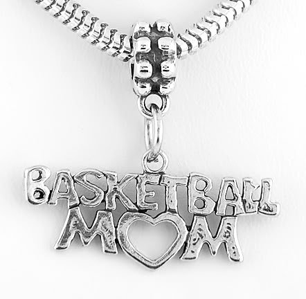 STERLING SILVER DANGLING BASKETBALL MOM EUROPEAN BEAD