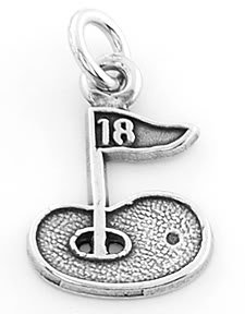 STERLING SILVER GOLF GREEN WITH 18TH HOLE FLAG CHARM/PENDANT
