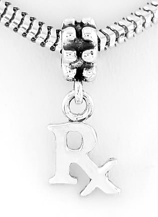 STERLING SILVER DANGLING RX PHARMACIST EUROPEAN BEAD
