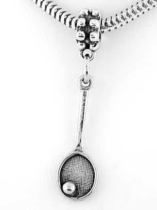STERLING SILVER DANGLING BEAD TENNIS RACKET EUROPEAN BEAD