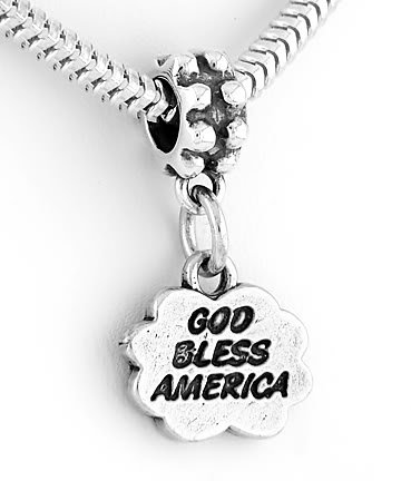 STERLING SILVER DANGLING BEAD GOD BLESS AMERICA EUROPEAN BEAD