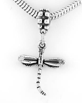STERLING SILVER DANGLING DRAGONFLY  EUROPEAN BEAD