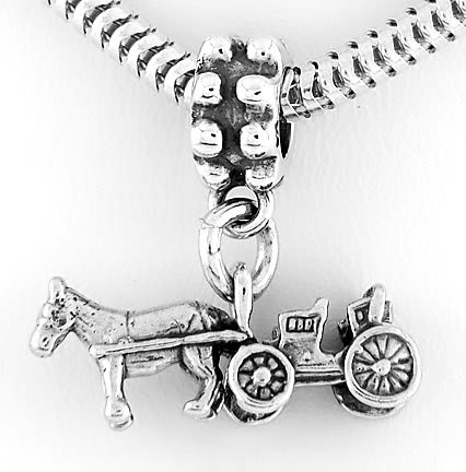 STERLING SILVER DANGLING HORSE AND BUGGY EUROPEAN BEAD