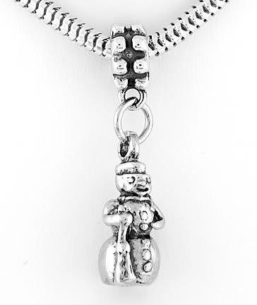 STERLING SILVER DANGLE SNOWMAN WITH SHOVEL EUROPEAN BEAD