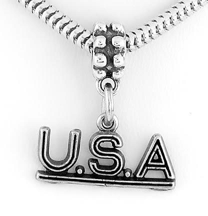 STERLING SILVER DANGLING U.S.A. USA EUROPEAN BEAD