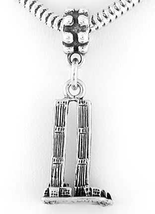 STERLING SILVER DANGLING TWIN TOWERS EUROPEAN BEAD