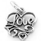 STERLING SILVER LOVE IN HEART CHARM/PENDANT