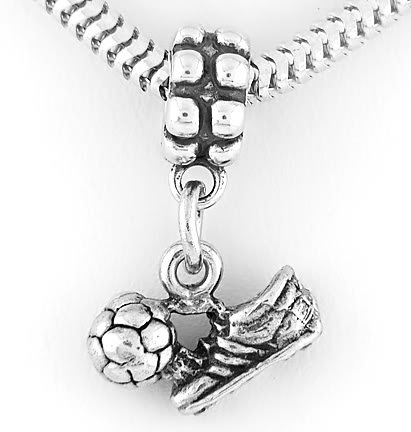STERLING SILVER DANGLE SOCCER SHOE WITH BALL EUROPEAN BEAD