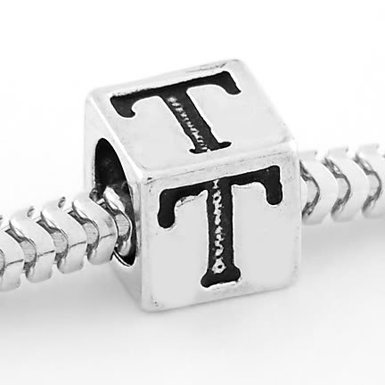 STERLING SILVER CUBE ALPHABET INITIAL T CUBE BEAD