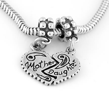 STERLING SILVER MOTHER DAUGHTER SPLIT HEART EUROPEAN BEAD