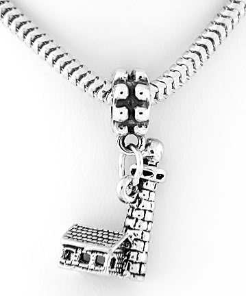 STERLING SILVER DANGLING 3D LIGHTHOUSE w/ CABIN EUROPEAN BEAD