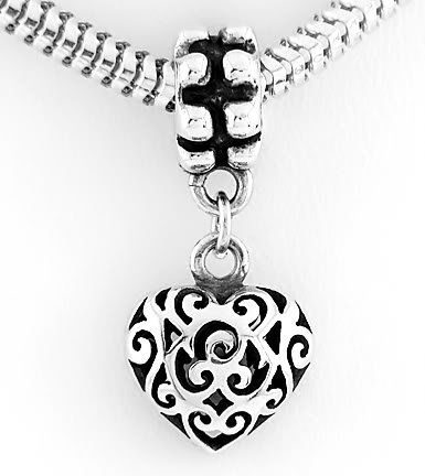 SILVER DANGLING 3D FILIGREE PUFFED HEART EUROPEAN BEAD