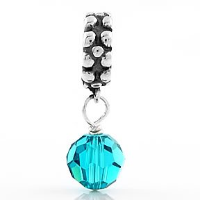 STERLING SILVER DANGLING DECEMBER BIRTHSTONE EUROPEAN BEAD