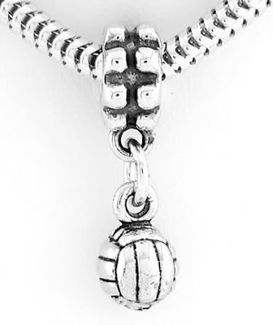 STERLING SILVER DANGLING VOLLEYBALL EUROPEAN BEAD