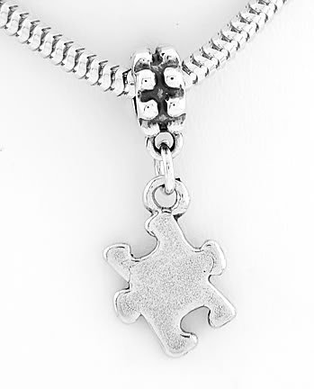 STERLING SILVER DANGLING AUTISM PUZZLE EUROPEAN BEAD