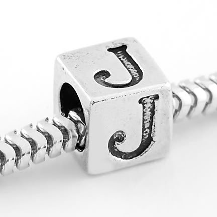 STERLING SILVER CUBE ALPHABET INITIAL J CUBE BEAD