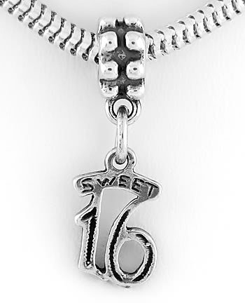 STERLING SILVER DANGLING SWEET 16 EUROPEAN BEAD