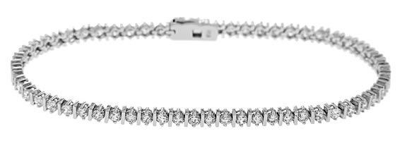 STERLING SILVER 2 Ct. ROUND CUT SET TRADITIONAL TENNIS BRACELET
