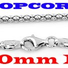 """STERLING SILVER 2MM ITALY POPCORN STYLE 16"""" NECKLACE"""