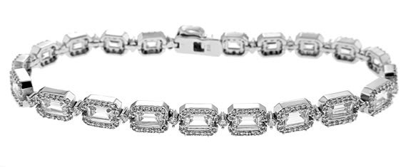 STERLING SILVER 7 Ct. EMERALD AND ROUND CUT CZ SET TENNIS BRACELET