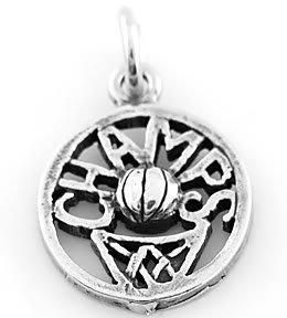 STERLING SILVER BASKETBALL CHAMPS CHARM/PENDANT