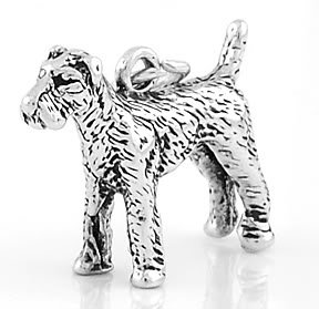 STERLING SILVER AIREDALE DOG 3D CHARM/PENDANT