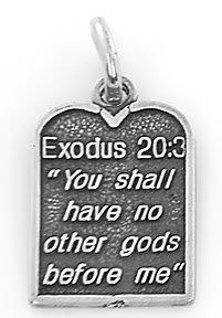 STERLING SILVER EXODUS 20:3 TEN COMMANDMENT #1 CHARM/PENDANT