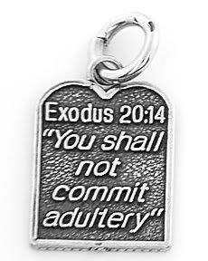 STERLING SILVER EXODUS 20:14 TEN COMMANDMENT #7  CHARM/PENDANT
