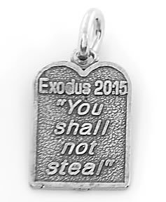 STERLING SILVER EXODUS 20:15 TEN COMMANDMENT #8 CHARM/PENDANT