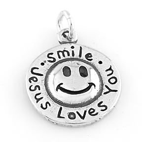 STERLING SILVER SMILE JESUS LOVES YOU CHARM/PENDANT
