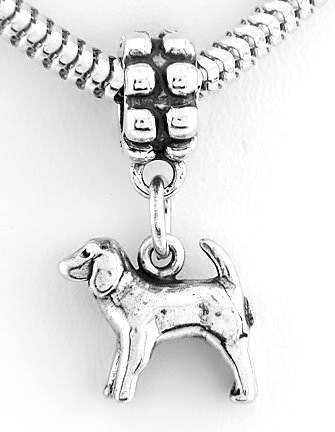 STERLING SILVER DANGLING COCKER SPANIEL DOG EUROPEAN BEAD