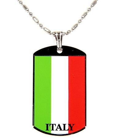 ITALIAN ITALY FLAG POLYMER GLAZED COATED COLOR DOG TAG