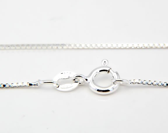 "ITALIAN STERLING SILVER 18"" BOX CHAIN 0.8mm"