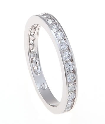 STERLING SILVER CHANNEL SET CUBIC ZIRCONIA WEDDING BAND/ RING