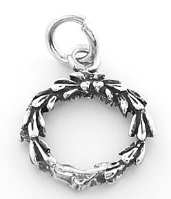 STERLING SILVER CHRISTMAS WREATH CHARM/PENDANT