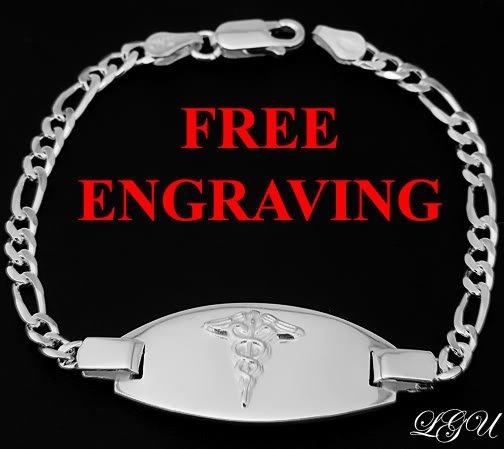 "STERLING SILVER MEDICAL ID BRACELET 7.5"" FREE ENGRAVING"