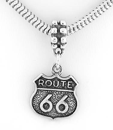 STERLING SILVER DANGLING ROUTE 66 EUROPEAN BEAD