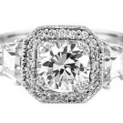 Sterling Silver Round CZ Trapezoid Cut Stone Engagement Ring