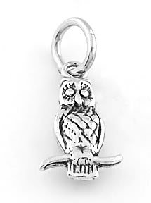 STERLING SILVER OWL SITING ON BRANCH CHARM/PENDANT
